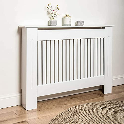 Chelsea Radiator Cover 82 x 112 x 19cm White Painted Wood MDF Radiator Heater Cover Case Cabinet Vertical Grill Slatted Vent Protector Shelf Horizontal Slats Storage for Home Office Traditional Design
