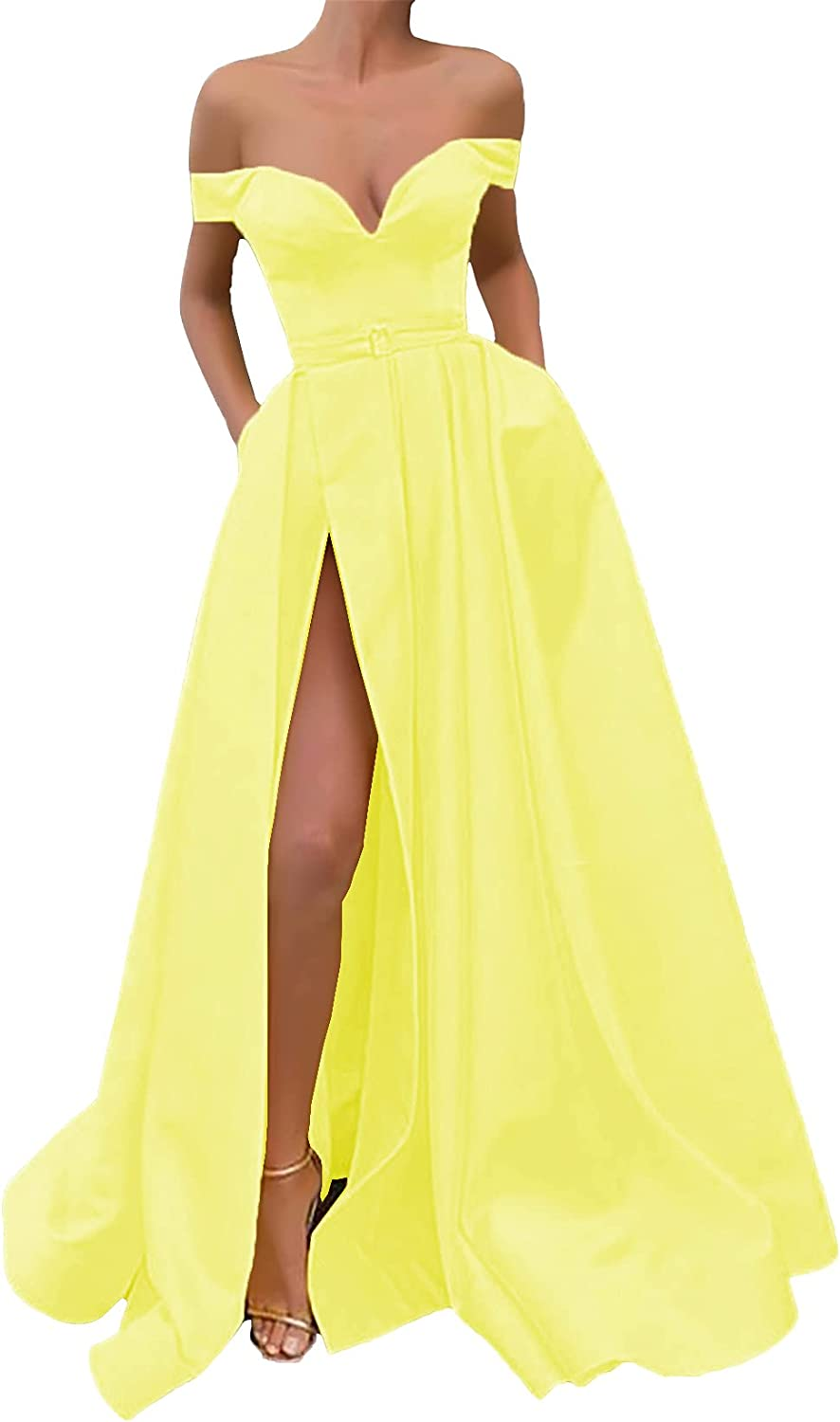 Prom Max 78% OFF Dress Long for Women Off Satin The Gown Shoulder Side Our shop OFFers the best service Ball