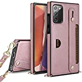 HianDier Compatible with Samsung Galaxy Note 20 5G 6.7-inch Wallet Case Slim Protective Case with Hand Strap Holder Kickstand Lanyard Credit Card Slot Soft PU Leather Square Cover, Rose Gold
