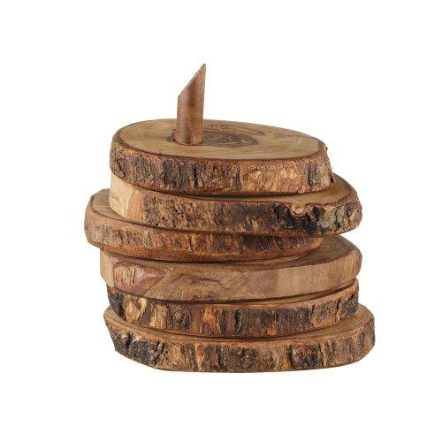 URBANARA Vence sottobicchieri rustici in legno con supporto - 100% legno di ulivo - marrone chiaro, set da 6