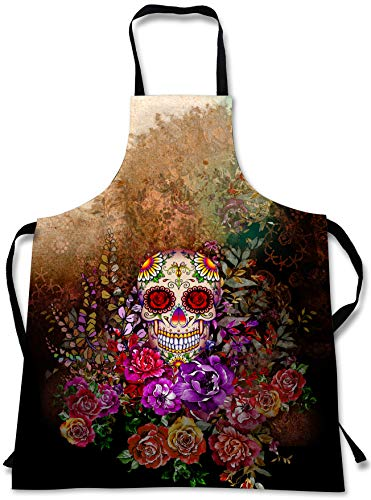 Sugar Skull Cooking Apron 3D Print Colorful Chef Apronsfor Home Kitchen