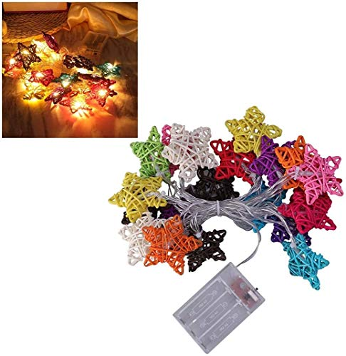 BMWY Beautifully Decorated Curtain String Lights,3 Meters 20 LED,Colorful Rattan Lights Star-Shaped String Lights, for Christmas Decorations, Weddings, Valentine's Day Parties Perfect