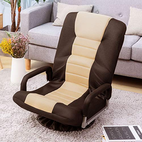 360 Degree Swivel Video Rocker Gaming Chair Adjustable 7-Position Floor Chair Folding Sofa Lounger, Comfortable Padded Backrest, Lazy Sofa Chair Game Rocker for Teens Adults ,Brown+Beige