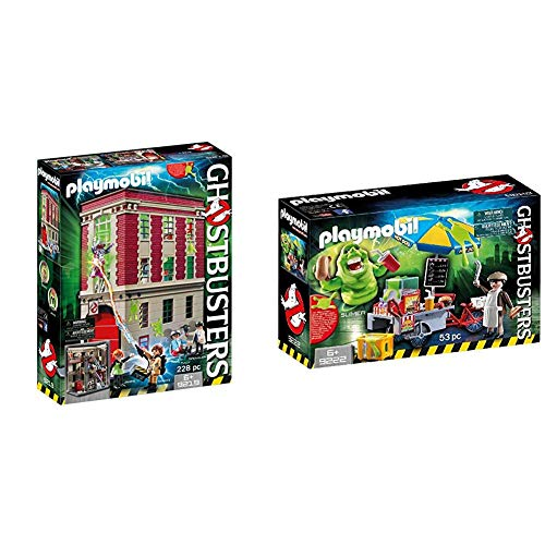 Playmobil 9219 - Ghostbusters Feuerwache & 9222 - Slimer mit Hot Dog Stand