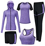 ZETIY Damen 5er-Set Strech Tights Sport Yoga Trainingsanzug (Large, Violett)