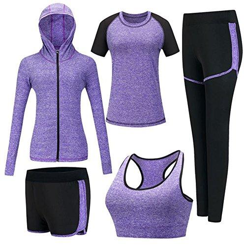 ZETIY Women's 5pcs Sport Suits Fitness Yoga Running Athletic Tracksuits (XL, Purple)