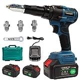 Hotwin 18V Brushess Cordless Blind Pop Rivet Gun Tool for Makita, Equipped with 2pcs 18V 5000mAh L-ion Battery