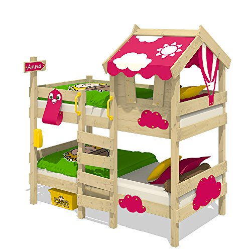 WICKEY Etagenbett CrAzY Daisy Kinderbett Hochbett mit Dach, Fenster, Kletterleiter und Lattenboden, pinke Plane, 90x200 cm