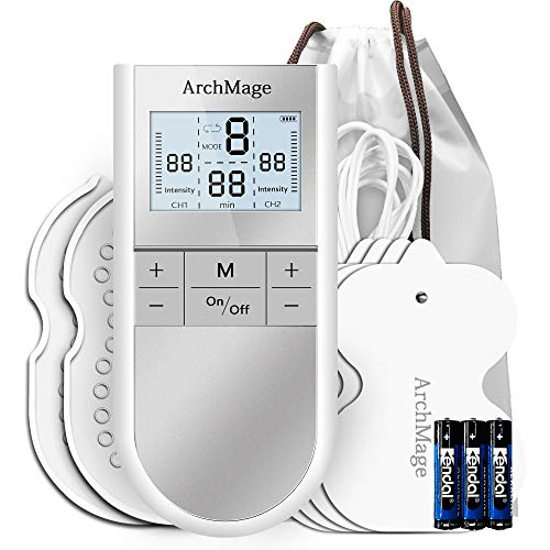 ArchMage Easy to Use Powerful TENS Unit Muscle Stimulator, Dual Channel, HD Screen, 16 Intensity Level, Pain Management for Back, Neck, Shoulder, Legs, Bursitis, Tennis Elbow, Pocket Size, FDA Cleared