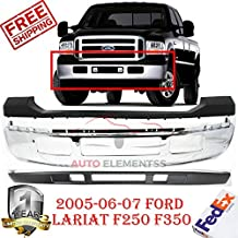 Front Bumper Chrome for 2005-2007 Ford Super Duty F-250 F-350 Uper & Lower Cover Without Fender Flare Holes with Absorber Direct Replacement Set of 3 FO1002392 FO1095219 FO1057292