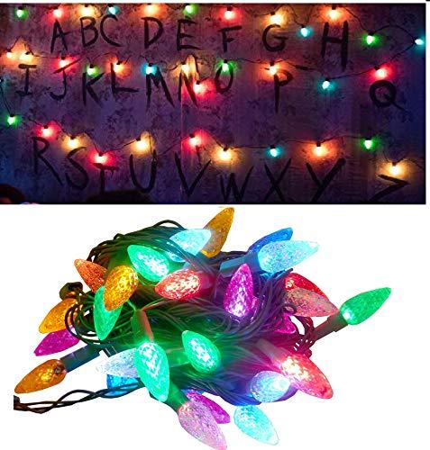 Vercico lichterkette batterie, LED Glühbirne Lichterkette 5M 50er LED Kugel Lichterkette Innen Außen Lichterkette für Weihnachten Party Garten Hochzeit Balkon Deko, Mehrfarbig