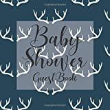 Baby Shower Guest Book: Rustic Navy Blue Stag deer Antlers Country Hunting Theme - Gender Reveal Boy Girl Signing Sign In Guestbook, Welcome New Baby ... Prediction, Advice Wishes, Photo Milestones