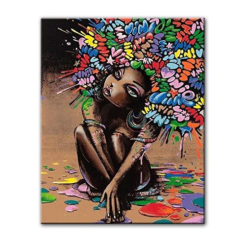 Canvas schilderij decoratie, Graffiti Druk van het Poster Olieverf for Living Room Wall Art Mooi Afrikaans Meisje Home Decoration Schilderijen (Color : MD5464, Size (Inch) : 50X70cm)