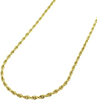 Verona Jewelers 14K Gold 1.5MM Diamond Cut Rope Chain Necklace for Men and Women- Braided Twist Chain Necklace 14K Necklace, 14k Rope Chain, 14 Karat Gold Necklace 16-26