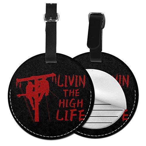 Living The High Life Lineman Etiquetas de equipaje redondas Etiquetas de identificación de viaje de equipaje de cuero, Negro (Negro) - Lp7bgrc-47220520