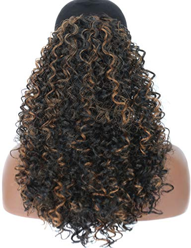 Kalyss leichte synthetische lose verworrene lockige Haarverlängerung loser geflochtener Pferdeschwanz Haarteil mit zwei Klammern und einem einstellbaren Kordelzug