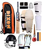 Kit includes-.Cricket Batting Pads, Batting Gloves,Thigh Guard ,Batting Elbow Guard, Abdominal Guard, Helmet, Cricket Kit Bag, Leather Ball, Head Band, Pair of Wrist Band,Bat Grips (2 Pcs.),Bat Grip Cone and Cricket Bat This kit is suitable for Youth...