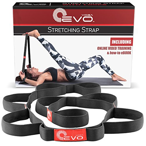 Stretching Strap with Loops for Physical Therapy, Yoga Strap for Stretching, Stretch Out Strap (Black)