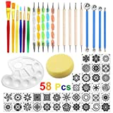 58 Pcs Kit Outil Peinture pour Mandala Outils de Pointage de Mandala Pochoir Ensemble de Pinceau Pinceau de Peinture sur Pierre Peinture Dessin pour Travaux Manuels Artisanat de Poterie