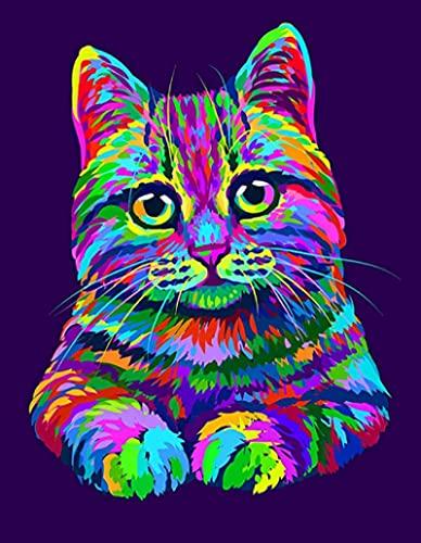 カラー猫グラフィティデアルテポスターとプリントウォールアート絵画寝室の装飾部屋の装飾リビングルームの装飾写真-50x70CMフレームレス