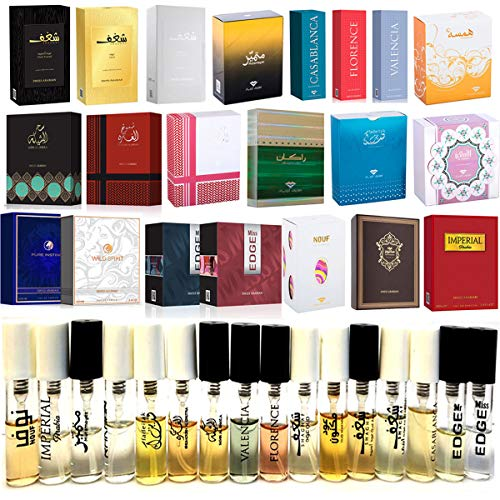 40 Swiss Arabian Designer Fragrance Samples | Perfume for Women, Cologne for Men and Unisex | 3mL x 40 Parfum Mini Spray Vials | All The Best Sellers and New Launches Including Oud Wood Testers