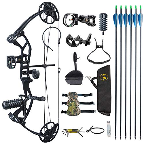 """TOPOINT ARCHERY M2 Junior Compound Bow Set Beginners,Youth&Kids Bow Women Bow 17""""-27"""" Draw Length,10-40Lbs Draw Weight,290fps IBO, Limbs Made in USA,Bow Only 2.54lbs,Lightweight Design (Black)"""