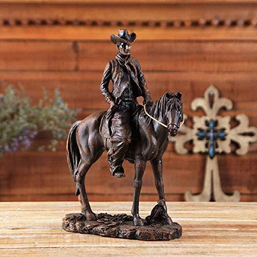Estatuilla Escultura Estatuilla Resina Montar a Caballo Figuritas Estatua del Vaquero del Oeste Americano Miniaturas Esculturas de Animales Obra de Arte para la Sala Accesorios de Mesa Regalo de