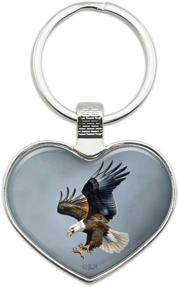Screaming Bald Eagle Diving Catching Keychain Heart Prey Courier Max 89% OFF shipping free Love Me
