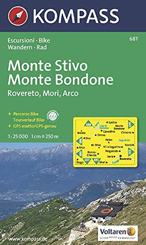 Kompass Karten, M. Stivo, M. Bondone, Rovereto, Mori,...
