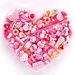 Slime Charms Set : 100 pieces mixed resin candy beads like candy, cake, ice cream, heart, donuts, little girl randomly pick. Material: Solid color resin, good gloss, abrasion resistance, reused and durability. Slime charms to put in slime make it mor...