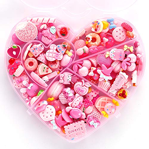 WINTING Resin Flatback Charms, 100pcs Slime Charms and Containers Mixed Candy Cake Sweets Resin Cabochons for DIY Crafts, Scrapbooking, Jewelry Making(Pink)