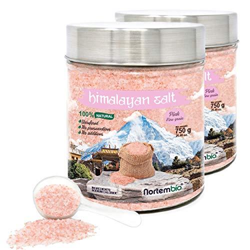 Nortembio Sal Rosa del Himalaya 2x750 g. Fina (1-2 mm). 100{69f15df62bc112debf148ddcf655823e8e7e8f068f6f9a48c473cfd749625834} Natural. Sin Refinar. Sin Conservantes. Extraída a Mano.