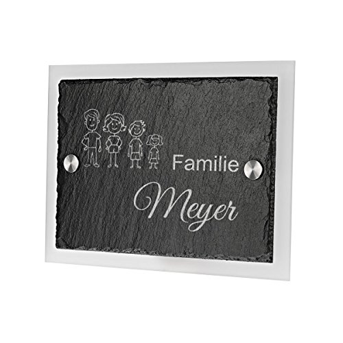 Ardoise plaque de porte avec gravure en verre acrylique Motif bonshommes famille
