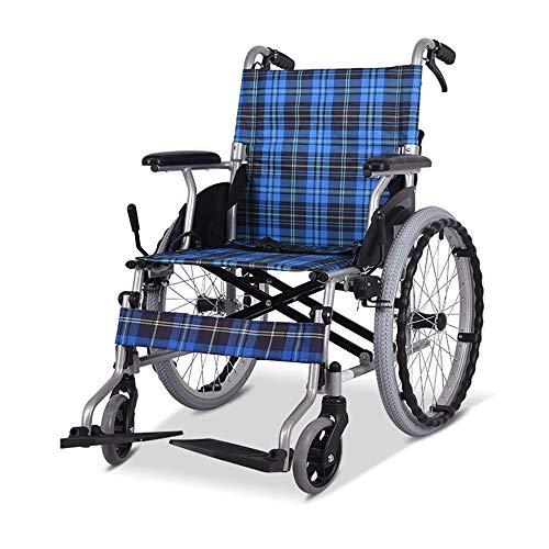 FENDOUBA Rollstuhl Aluminium Klapprollstuhl Leichter Transportstuhl Mit Feststellbremse, 20-Zoll-Hinterräder, Einschließlich Kippschutz, Blau
