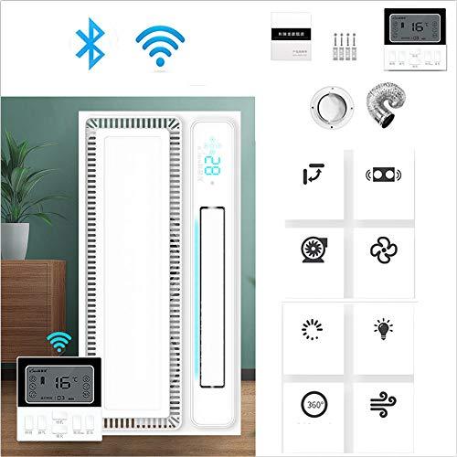220v Ventilador Extractor de aire Silencioso, extractor de aire baño/Cocina Blanco multifuncional, extractor de aire potente Instalación en el techo, 600x300mm,LCD-switch