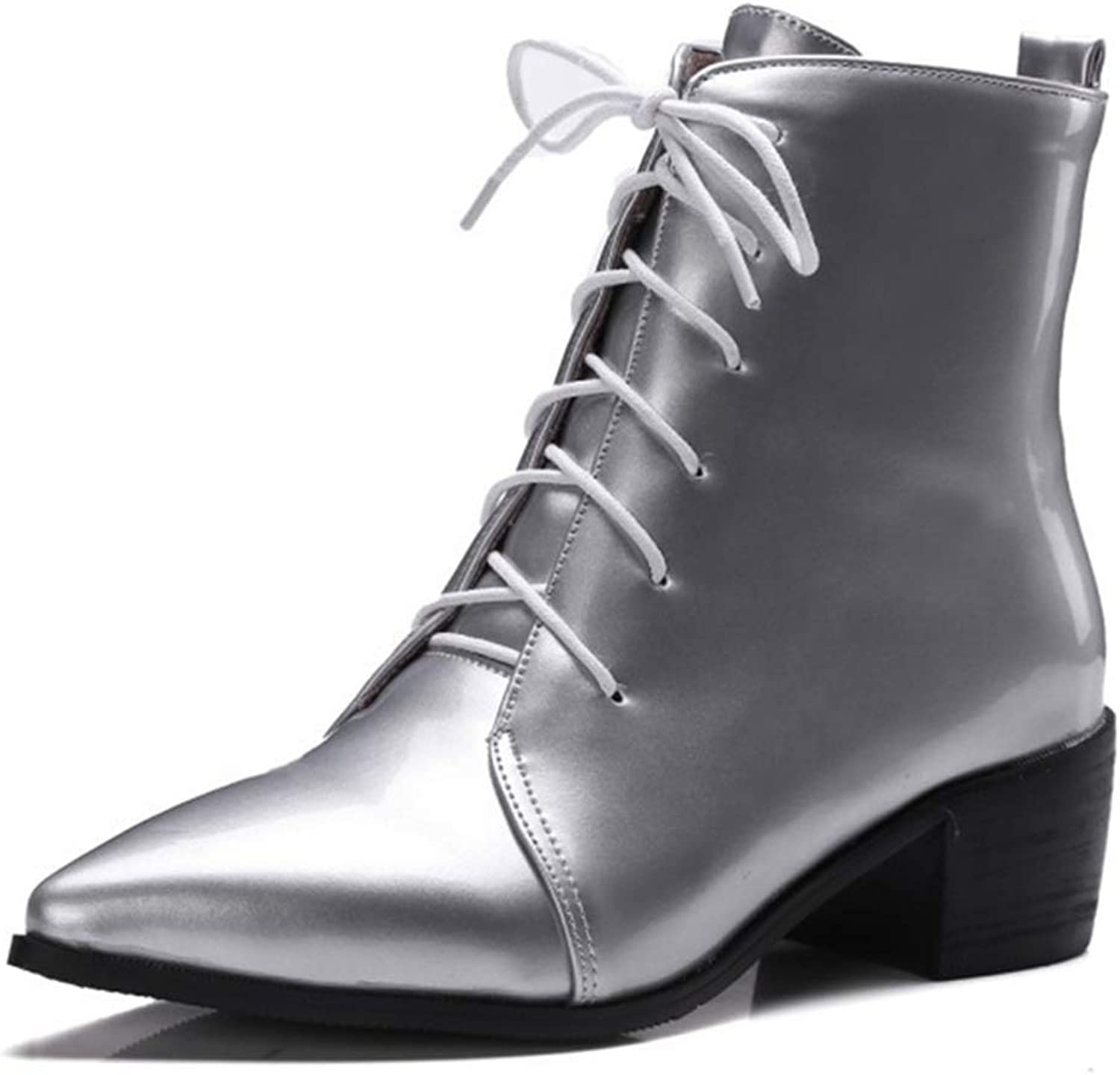 GIY Women Round Toe Retro Low Chunky Heel Ankle Boots Faux Leather Pointed Toe Lace-Up Knight Martin Boots