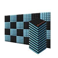 新しい24ピース 500 x 500 x 50 mm 半球グリッド 吸音材 防音 吸音材質ポリウレタン SD1040 (黒とライトブルー)