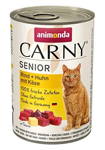 animonda Katzenfutter Carny Senior, Nassfutter für Katzen ab 7 Jahren, Rind + Huhn mit Käse, 6 x 400 g