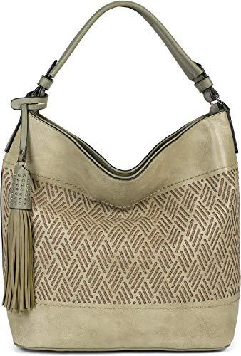 styleBREAKER Damen Hobo Bag Handtasche mit Cutouts in Rauten Form und Quaste, Shopper, Schultertasche, Tasche 02012285, Farbe:Oliv