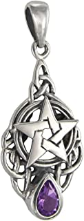 Sterling Silver Celtic Triquetra Knot Pentacle Pendant with Natural Amethyst