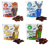Pearson Ranch Grass Fed Wild Game Variety Pack of 4 - 2.1oz Bags - Venison, Elk, Buffalo, & Wild Boar Sugar-Free Jerky - Gluten-Free, MSG-Free, Paleo and Keto Friendly