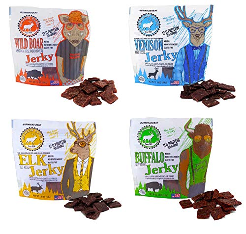 Pearson Ranch Grass Fed Wild Game Jerky Variety Pack of 4 - 2.1oz Bags - Venison, Elk, Buffalo, & Wild Boar Sugar-Free Jerky - Low-Carb, Gluten-Free, MSG-Free, Paleo and Keto Friendly