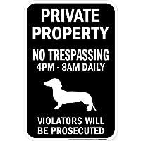 PRIVATE PROPERTY ブラックマグネットサイン:スムースダックスフンド シルエット 英語 私有地 無断立入禁止