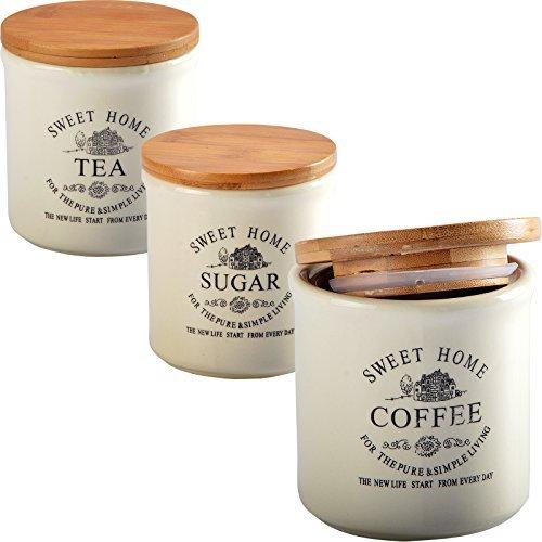 DRULINE 3er Set Aufbewahrungsdose Keramik Dose Zucker Kaffee Tee Sugar Coffee Tea