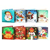 8pcs Christmas Cards 5D DIY Diamond Painting Greeting Card Special-Shaped Birthday Festival Gifts Mosaic Making Art Craft
