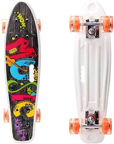 RILIWOY 55cm/22 Mini Cruiser Skateboard für Mädchen Jungen Kinder, Kunststoff-Skateboard mit LED-Leuchtrollen für Anfänger