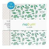 Natum ecocloth™ XL | Bayetas ecológicas antibacterianas | Paños Reutilizables de 70% Algodón 30% celulosa | Multisuperficie & Cristales - Blanco (Motivo Verde + Naranja) (2 Unidades)