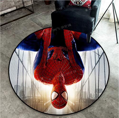 zzqiao Tappeto Rotondo Tappetino per Bambini Cartone Animato Anime Cameretta per Bambini Marvel Heroes Avengers Spider-Man Iron Man Camera da Letto Cristallo Velluto Diametro Dimensioni 120 Cm