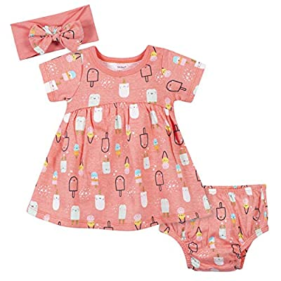 Gerber baby girls 3-piece Dress, Diaper Cover and Headband Set Casual Dress, Pink Popsicles, 24 Months US by Gerber