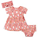 Gerber Baby 3-Piece Baby Girls Popsicles Dress, Diaper Cover, and Headband Set